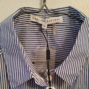 NWT English Factory Striped Button Down Top XS